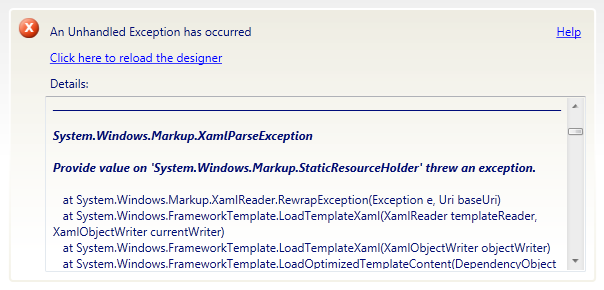 Fixing a Xaml parse exception - Niche Software